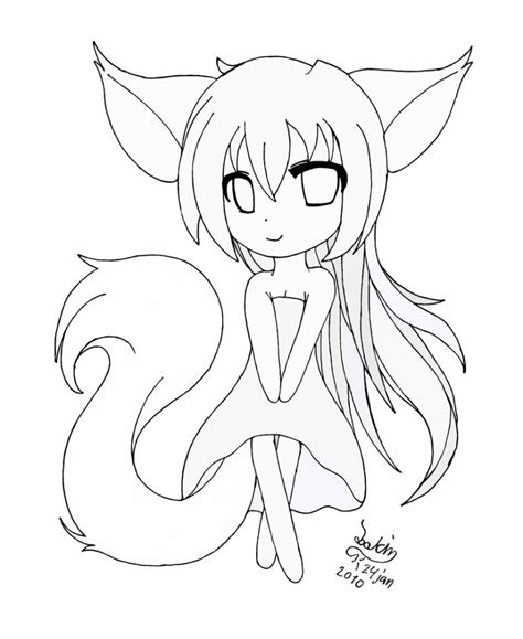 draw cat girl anime chibi drawing base  litle pups