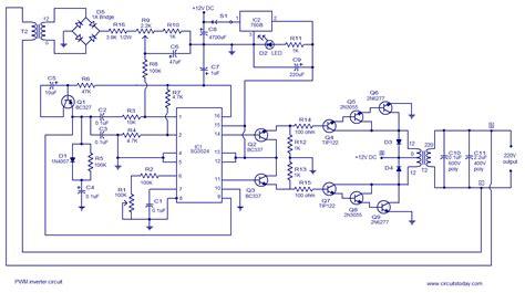 pwm inverter circuit based sg3524 12v input 220v output 250w