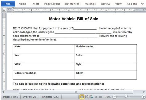 sample  vehicle bill  sale template managers club