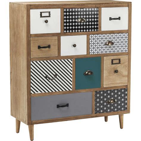 tabouret pour bureau commode en bois aux onze tiroirs dépareillés