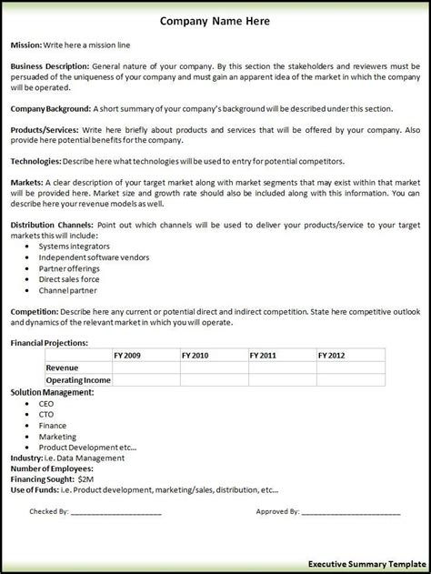 free executive summary template 2 executive summary templates free word templates