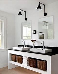 salle de bain blanche plan vasque noir With salle de bain design avec vasque blanche salle de bain