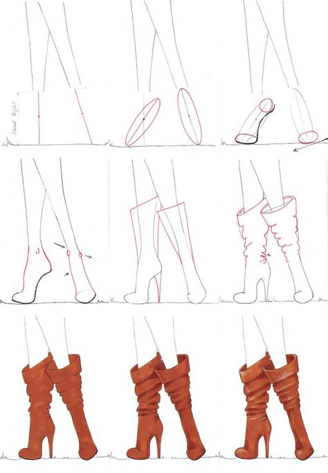 step  step tutorial    draw boots easy