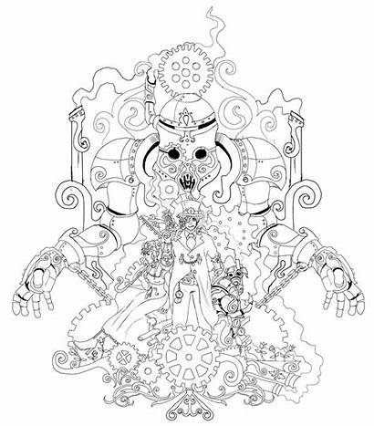 Steampunk Coloring Pages Gears Drawing Animal Adult