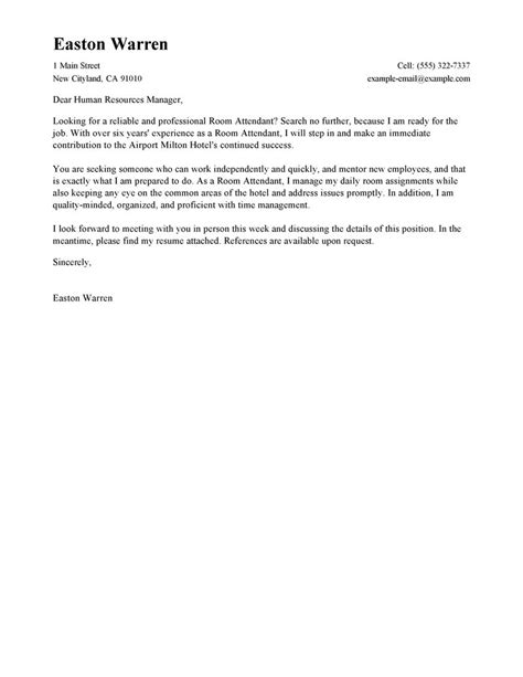Brief Resume Cover Letter Exle by Leading Professional Room Attendant Cover Letter Exles Resources Myperfectcoverletter