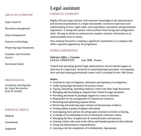sample legal resume templates   ms word