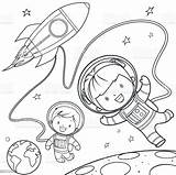Coloring Space Rocket Pages Travel Vector Cartoon During Clip Astronaut Illustrations Illustration Clipart Vectors Drawing sketch template