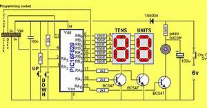 Seven Segment Up Counter And Timer Circuit - 16f628