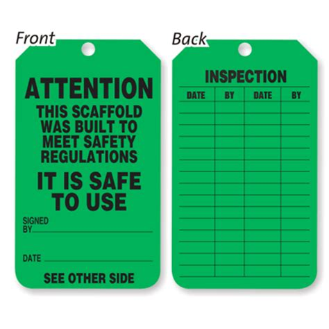 scaffolding inspection tags self laminated scaffold tags