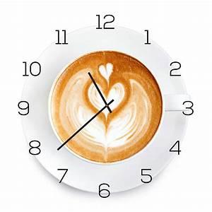 Wanduhr Aus Glas : wanduhr aus glas 30x30cm uhr als glasbild k che cappuccino coffee deko levandeo ~ Buech-reservation.com Haus und Dekorationen
