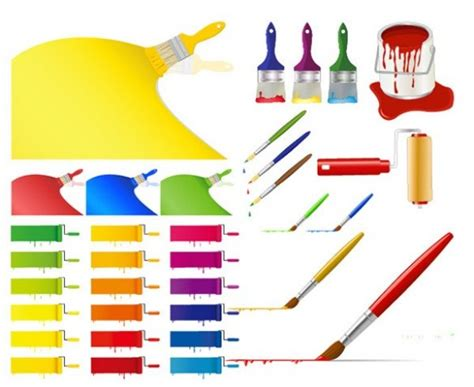 colorful paint brushes and strokes vector welovesolo