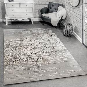 Designer teppich meliert grau beige design teppiche for Balkon teppich mit versace tapete blau