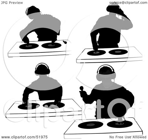royalty free rf clipart illustration of a digital collage of dj silhouettes version 4 by