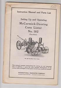 Instruction Manual Ih Mccormick Deering Corn Lister No 182