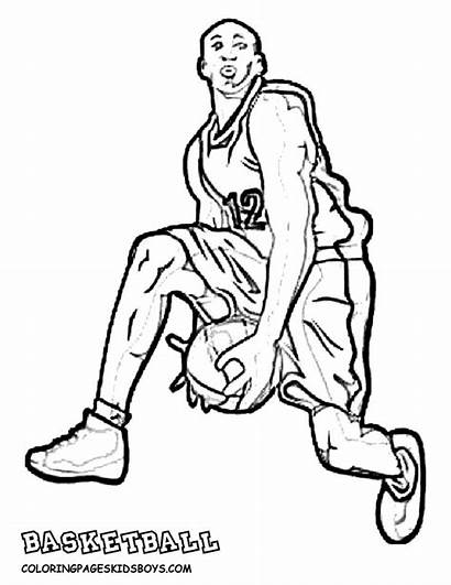 Coloring Basketball Pages Door Player Players College