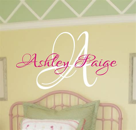 baby girl nursery wall decal monogram   justthefrosting