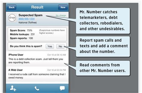 phone number spammer block calls and texts on android with mr number