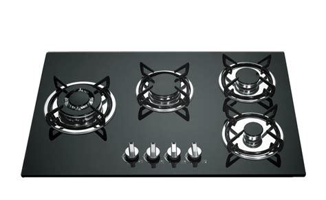 cast iron glass cooktop built in gas stove 4 burner glass top with cast iron pan