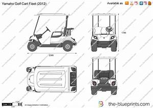 Yamaha Golf Cart Fleet Vector Drawing