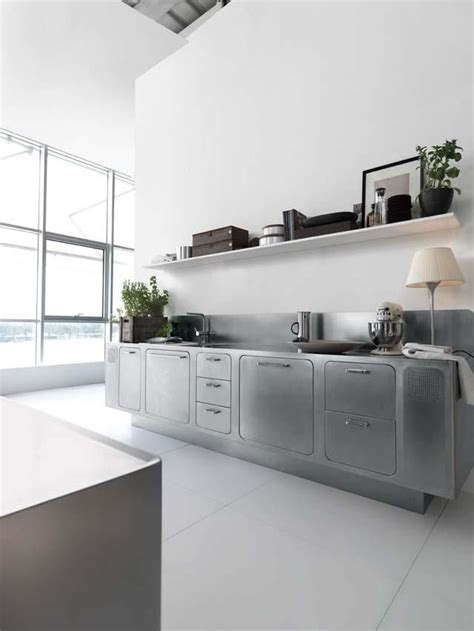 Moderne Küche Edelstahl Arbeitsplatten Fronten Schubladen