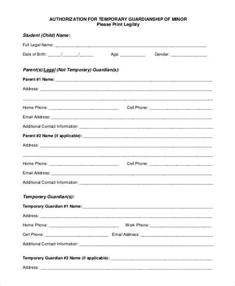 alabama temporary custody forms 10 sle temporary guardianship forms pdf sle
