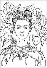 Frida Portrait Self Kahlo Pages Coloring Thorns Necklace sketch template