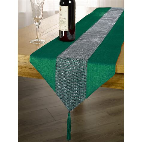 colored table runner tablecloth with diamante strip and