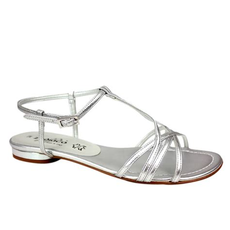 flat silver shoes zodiaco flat strappy sandal silver non leather