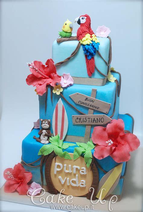hibiscus hawaii surf parrot cake cake fondant cakes