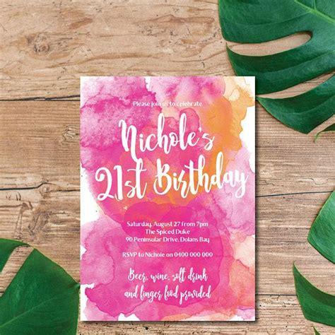 21st Birthday Invitation Watercolour Water Colour Water