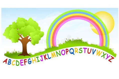 alphabet playground rainbow stock illustration