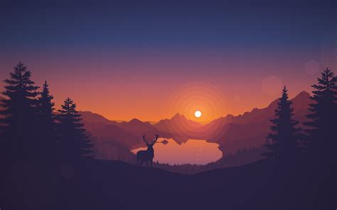 Poly Lakeside Minimal, Hd 4k Wallpaper