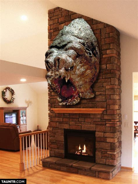 Taxidermied Heads Of Star Wars Creatures Mounted On Fireplaces