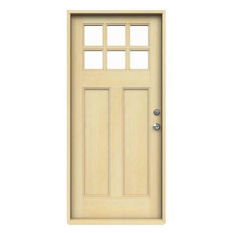 jeld wen entry doors jeld wen 36 in x 80 in craftsman 6 lite unfinished fir