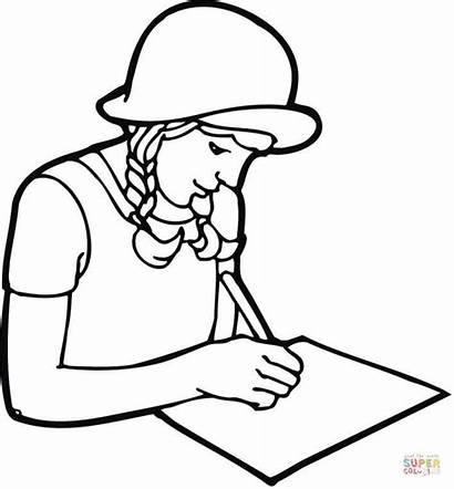 Writing Coloring Student Pages Paper Studying Drawing