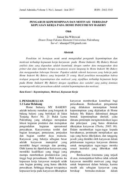 (PDF) PENGARUH KEPEMIMPINAN DAN MOTIVASI TERHADAP KEPUASAN