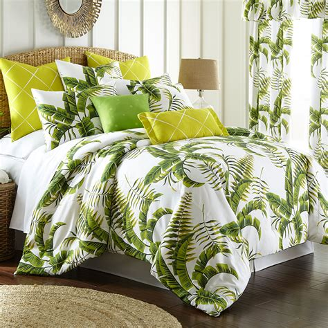lush fronds palm leaf tropical mini comforter set