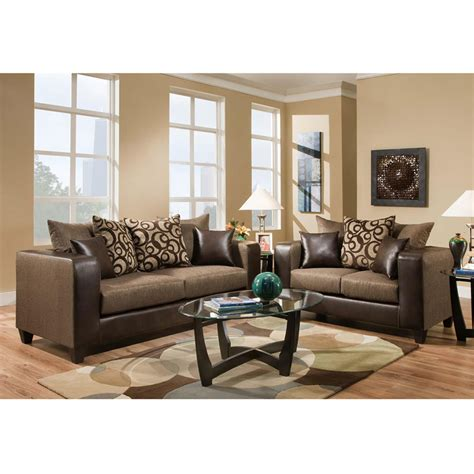 Riverstone Object Espresso Chenille Living Room Set, Rs
