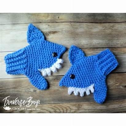 Shark Crochet Mittens Traversebaycrochet Pattern Child Patterns