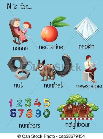 different words begin with letter l stock vector image different words for letter n illustration clipart vector 12963