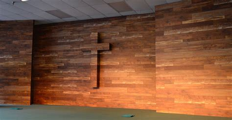 wood wall backdrop  church stage  cross  soft
