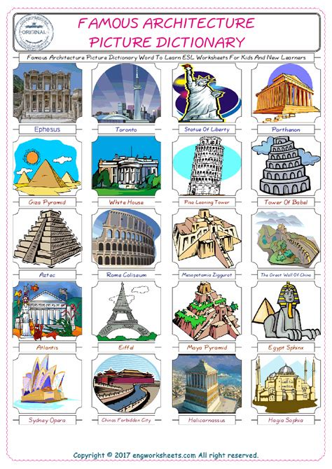 famous architecture esl printable english vocabulary