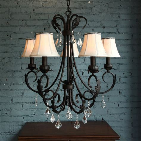pastoral 5 light wrought iron vintage chandelier