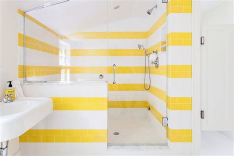 yellow subway tile kitchen traditional with glass panel