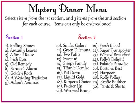 Ideas For Halloween Food Names by Mystery Dinner Red Hats Victoria