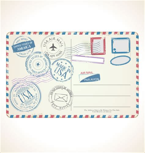 stamp  post card  white background
