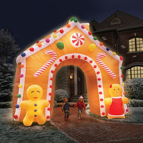 gingerbread house lights decorations the 15 foot illuminated gingerbread house hammacher