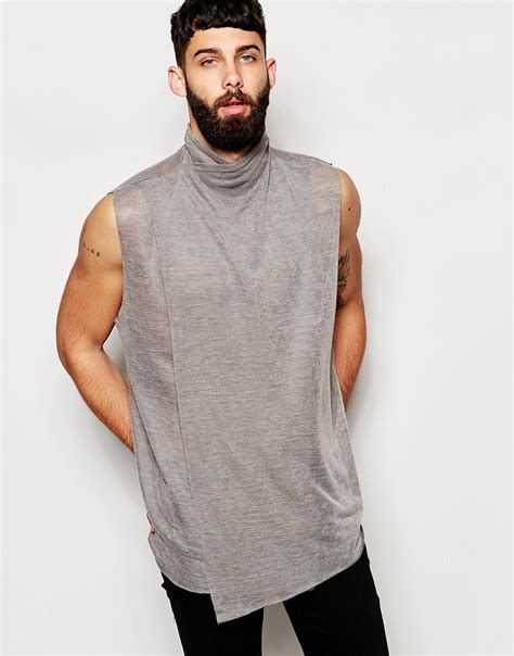 Asos Longline Vest With Drape Turtle Neck In Slub Fabric And Raw Edges in Gray for Men | Lyst