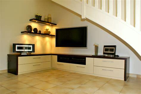 latelier meuble tv medium laque beige  chocolat