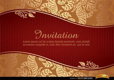 marriage invitation  riband golden leaves background